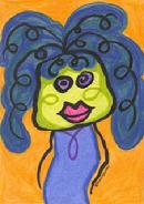 big blue haired woman, swirly, curly hair, voluptuous womanly lips, female cartoon character