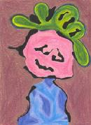 argyle sweater, pink baby face, curly loopy green hair, kid art