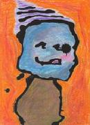 snowman, cheerful creature, purple cap, tongue sticking out, happy child, abstract art