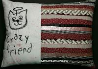 handmade fabric quilt, thread sketching, free motion sewing, cat angel art, friendship pet pillow