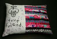 dog friendship pillow, handmade quilts