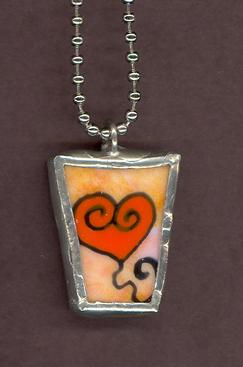 Frilly Romantic Orange Heart balloon hand soldered Pendant Jewelry