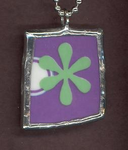 Retro Modern Floral Graphic Art Handmade Soldered Pendant