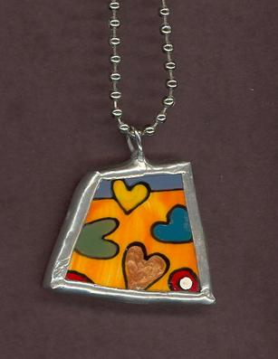 handpainted funky heart jewelry