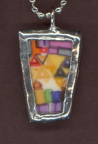 abstract geometric spring colors pendant