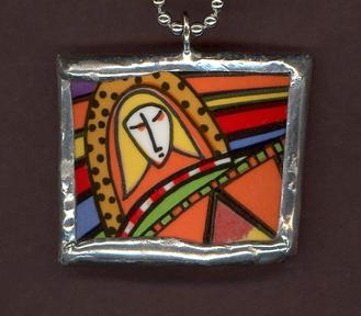 colorful contemporary broken china mosaic of woman soldered pendant