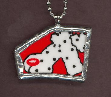 White dog with read nose and red collar mosaic tile china pendant