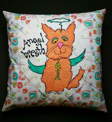 Zany Cat Angel Pillow, Orange Tabby, Fish skeleton Necklace
