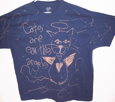 funky handmade outsider art cat tshirt