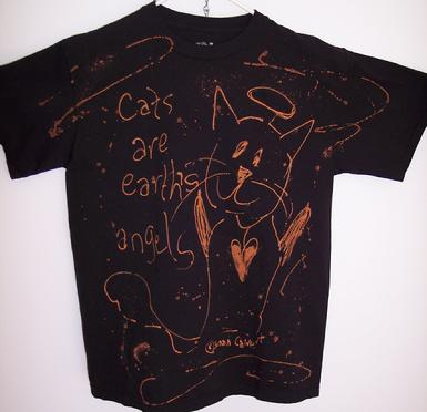 black cat angel cotton tshirt