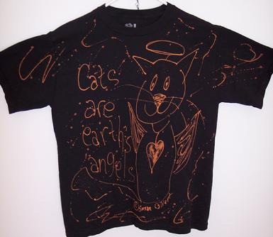 original work of art black cat with halo and wings teeshirt
