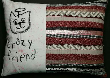 crazy friend accent throw pillow, cat lover gifts, textile art