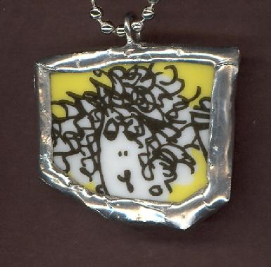 Comical lady with frizzy curly hair on light yellow background pendant