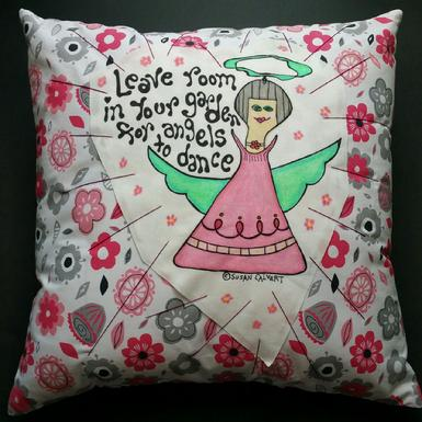 Garden Angel Art Pillow, Dance Home Decoration, Pink and Gray Floral Print, Giftware