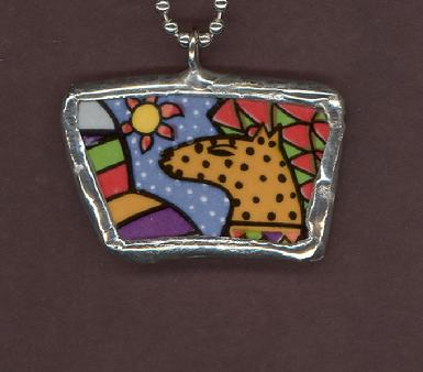 colorful coyote in desert with sun soldered pendant necklace