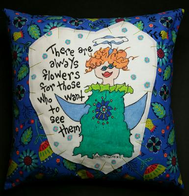 gardening decorations, home accent pillows, fairy angel, flower art