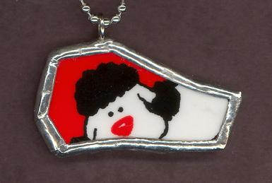 cute Poodle on red background broken china mosaic necklace